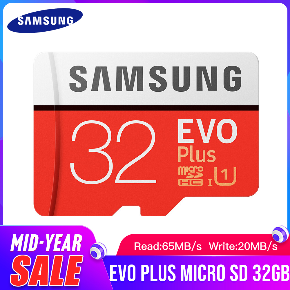 SAMSUNG EVO+ Class 10 Memory Card Micro SD 32GB SDHC SDXC Grade C10 UHS TF Cards Trans Flash Microsd New And SD Adapter Gift