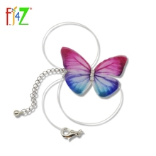 F.J4U New Hot Fashion Designer Crystal Colorful 3D Yarn Butterfly Chokers Invisible Fishline Silk Neck Necklace for Women bijoux