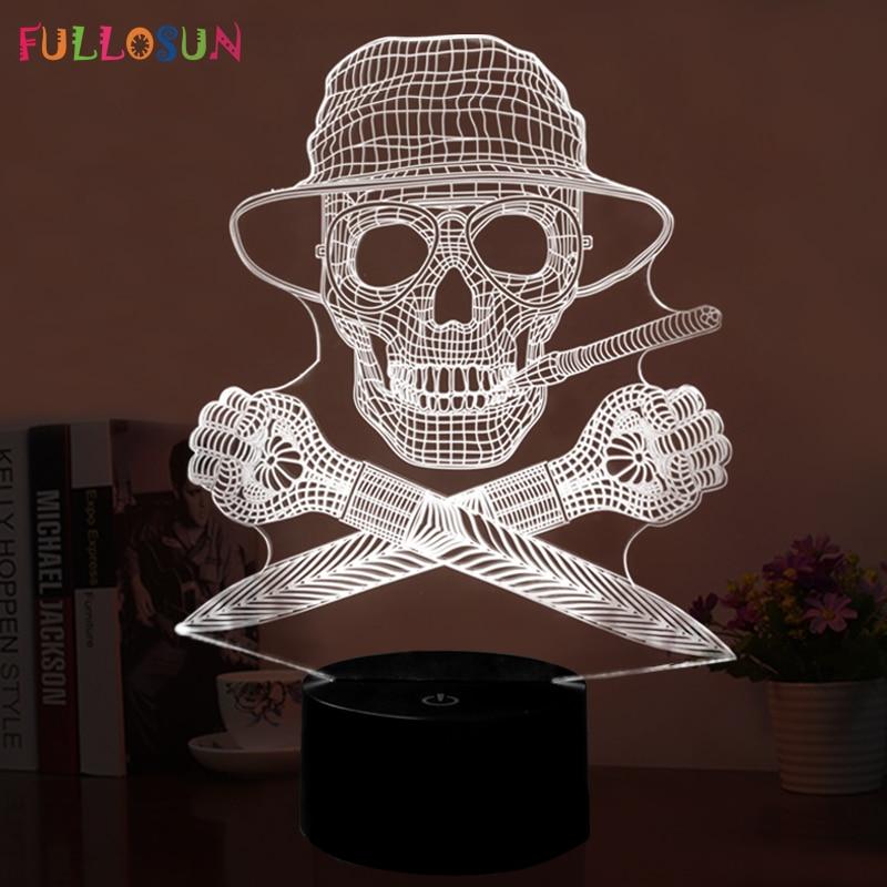 Skull Head USB 3D Light Novelty 7 Colors LED 3D Night Lamp as Bedroom Decoration LED Desk Lamp cool skull middle finger 3d skull decor 3d usb led lamp pop rock music boy room decor 7 colors change night light visual illusio