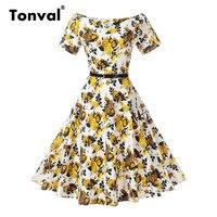Tonval Off Shoulder Vintage Yellow Flowers Dress Women Gorgeous Floral Print Dresses With Belt Sexy V