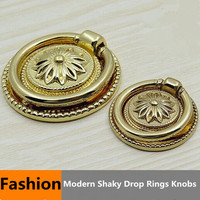 Fashion Modern Shaky Drop Rings Furniture Knobs Godern Drawer Cabinet Knobs Pulls Golden Dresser Cupboard Door