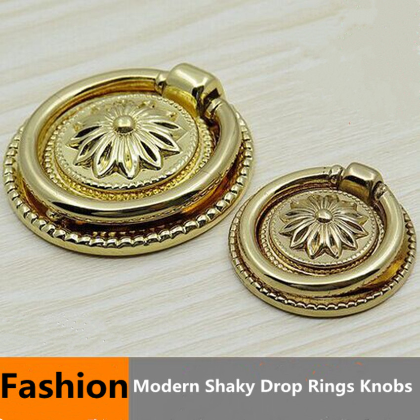 Fashion Modern Shaky Drop Rings Furniture Knobs Godern Drawer Cabinet Knobs  Pulls Golden Dresser Cupboard DoorCompare Prices on Door Drawer Handle Pull Ring  Online Shopping  . Drop Ring Drawer Pulls. Home Design Ideas