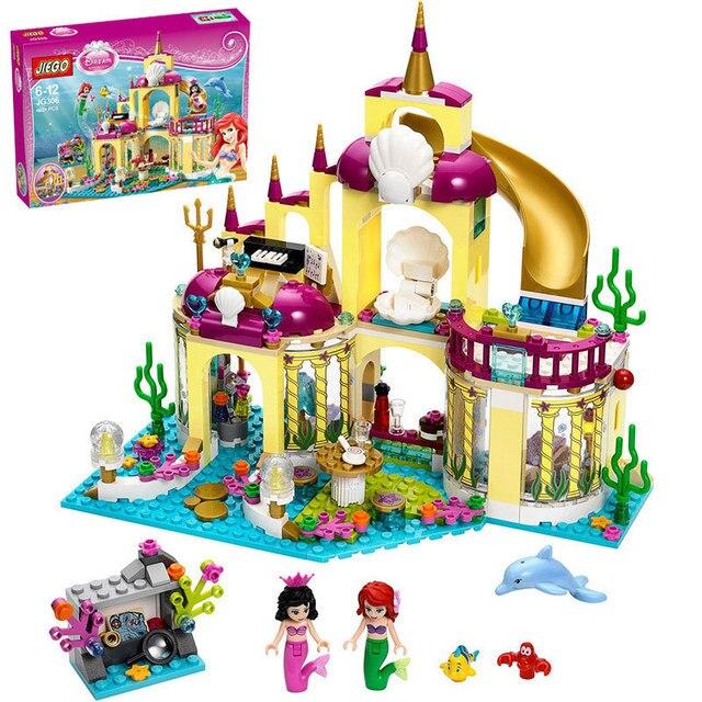 Новое поступление Принцесса Ариэль дворец моря Русалка Compatibie Legoings Строительные блоки Набор игрушек DIY образовательные подарки