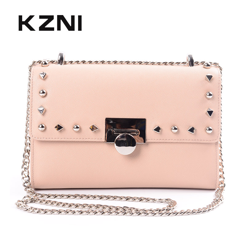 KZNI Genuine Leather Cowhide Clutch Shoulder Bags for Women Bag Genuine Leather Purses and Handbags Female Femmes Sac 9069 kzni genuine leather purses and handbags bags for women 2017 phone bag day clutches high quality pochette bolsa feminina 9043