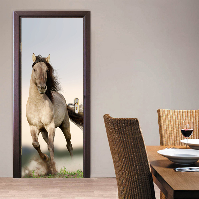 цена на Pentium Horse Living Room Bedroom Door Mural Wallpaper Sticker PVC Self-adhesive Waterproof Wall Papers Home Decor Wall Painting
