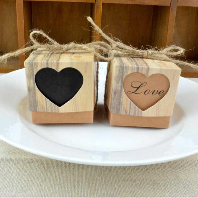 1 قطعة خمر رومانسية القلب كرافت ورقة كاندي صندوق مع الخيش خيوط هدايا لحفلات الزفاف والهدايا حقيبة لوازم الزفاف