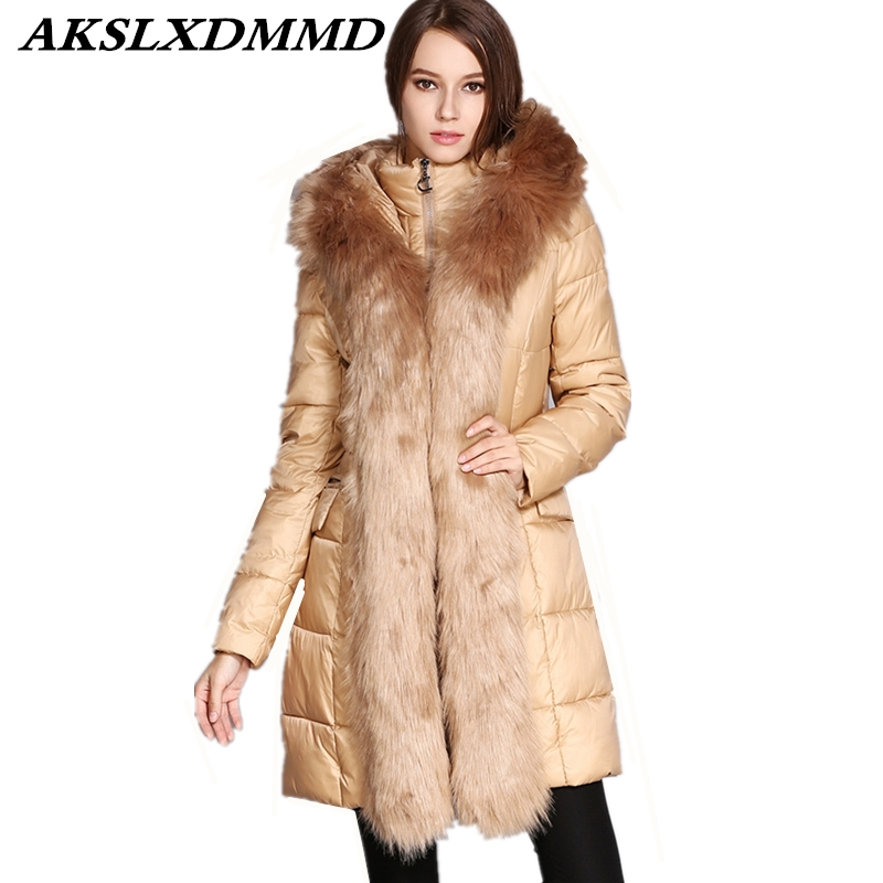 2019 Women Winter Cotton Coat Hooded Fur Collar   Parkas   Thicken Mid-Long Coat Large Size Loose Outerwear Warm Winter Jacket CW005