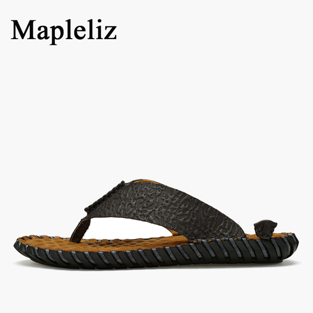 Mapleliz Brand Summer Men Flip Flops Handmade Genuine Leather High Quality Casual Male Beach Shoes Leisure Flat Men Sandals