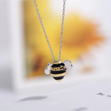 925 Silver Jewelry Wholesale Korean Fashion Cute Bee Exquisite Creative Female Personality Pendant Necklace   H274