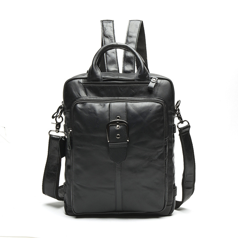 Фото 8863 new man bag backpack male first layer cowhide Student Backpacks retro men Satchel multifunctional Leather Backpack