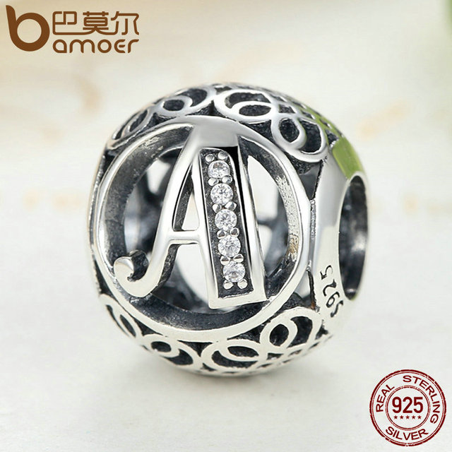 Sterling Silver Vintage A to T, Clear CZ Alphabet Letter Bead