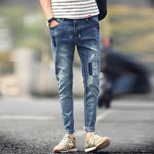 Top Fashion Jeans Homme Casual Summer 2016 New Brand Korean Slim Feet Stretch Skinny Jeans Men Solid Pencil Pants Denim
