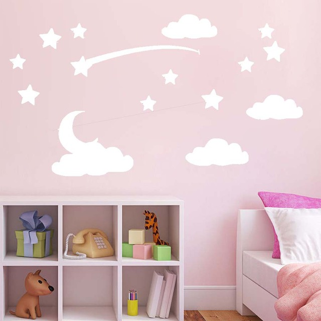 lovely baby nursery clouds stars wall sticker colourful moon clouds
