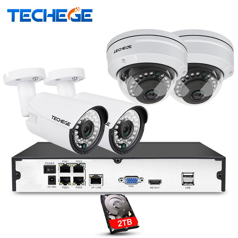 4CH 1080P POE 48V Real NVR kit 1080P HD Vandalproof Dome camera 2MP POE IP Camera IR 20M POE CCTV Camera System Plug and Play