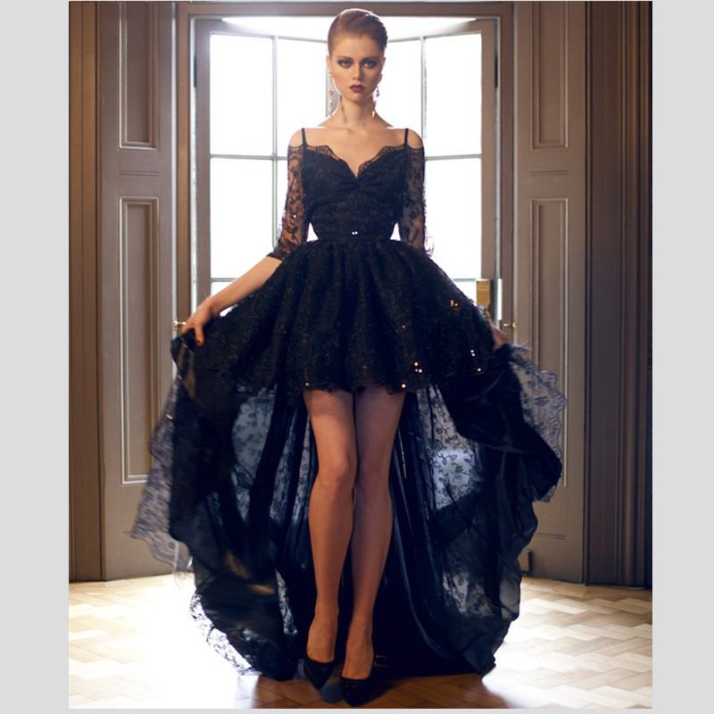 Designer Prom Dresses: Designer Sexy Back Black Lace Special Occasion Events