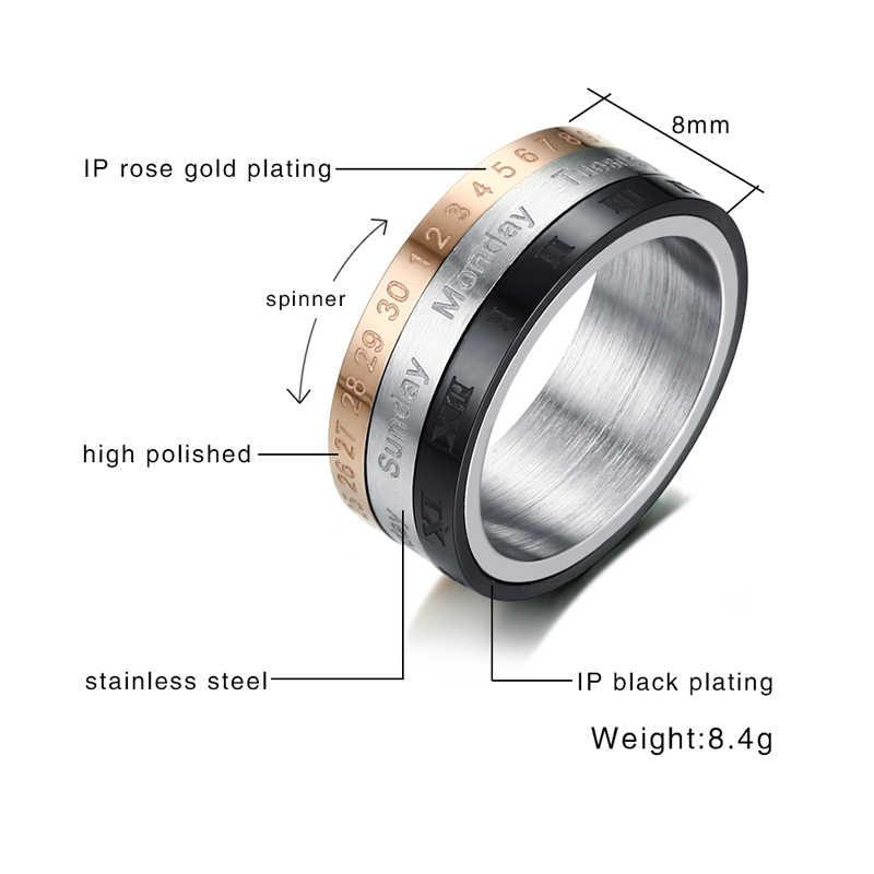 Vnox rotatable 3 parte numerais romanos calendário anel homem jóias de aço inoxidável legal punk spinner masculino banda bijoux com data tempo