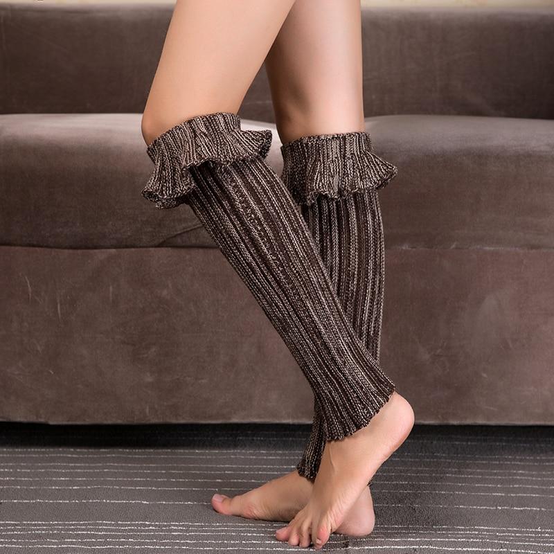 1 Pair Winter Womens Knitting Leg Warmer Knitted Shell Design Boot Cuffs Toppers Liner Boot Leg Warmers Flanging Socks
