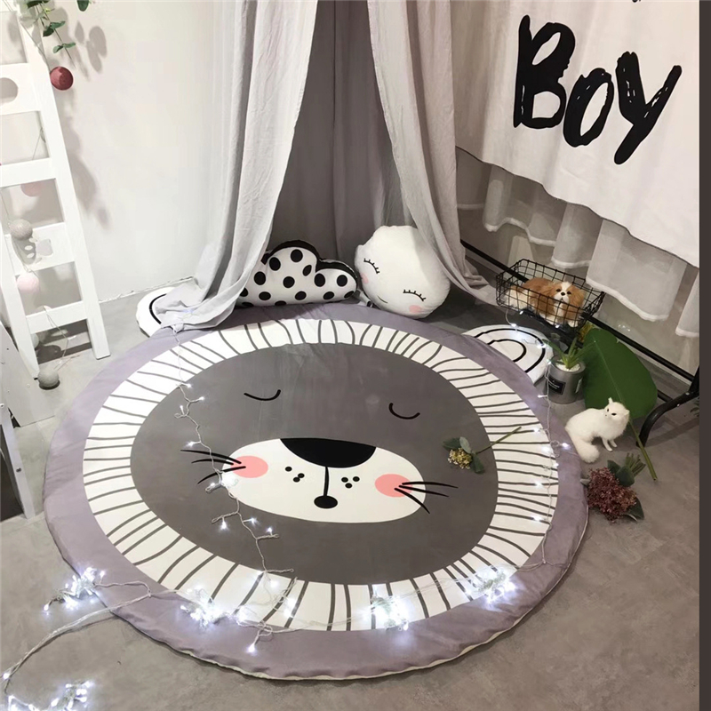 купить Home Decor Kids Room Soft Carpet Round 150*150cm Baby Play Mat for Living Room Bear Printed Kids Crawling Blanket Anti-slip Rugs онлайн