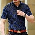 2017 Mens See Through Shirts Plaid Transparent Shirts Blue Silk Erkek Giyim Mens Clothing Camisa Mens Black Velvet Shirts Social