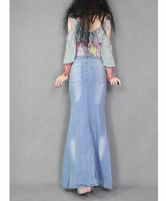 Модные весенне-осенние женские стильные юбки с рыбий хвост, повседневные длинные юбки макси с высокой талией, женские синие джинсовые юбки, длинные джинсовые юбки