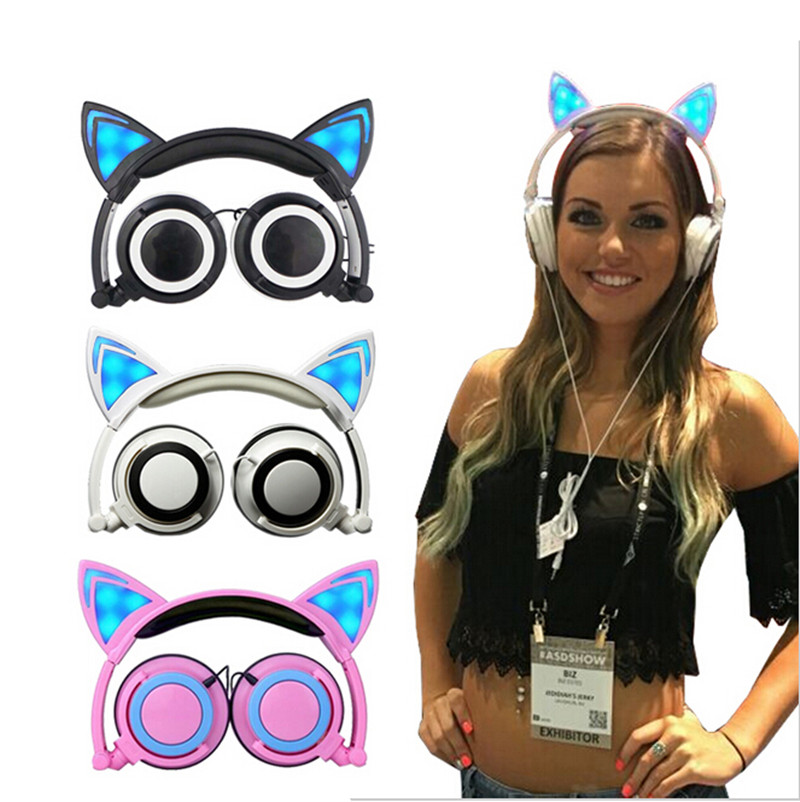 AKASO Cute Cat Ear Headphones Creatives Foldable Flashing Glowing Gaming Headset with LED light For Sumsung