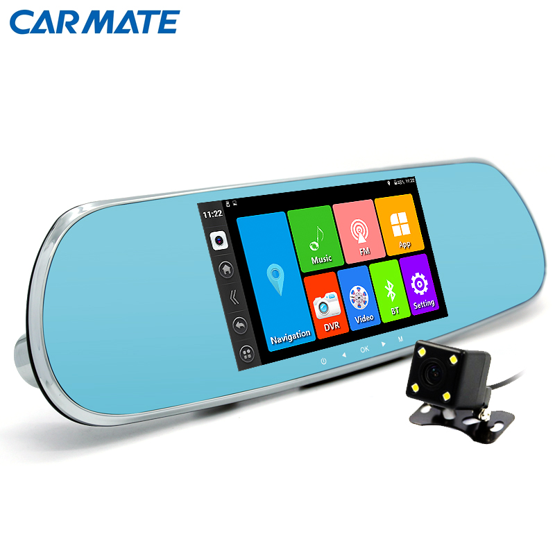 "5.0"" Car DVR camera Touch Bluetooth Car Rearview Mirror Dual camera FHD 1080P Android GPS DVR navigation Free map Silver"
