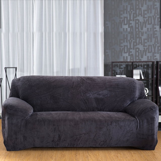 Modern Elastic Slipcover Solid Color Thick Plush Stretch Sectional Sofa  Covers For 1/2/