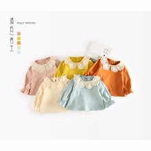 Baby Girls T-shirt Kids Clothes 2018 Brand Children Hollow Out Lace Collar T Shirts for Girls Costumes Infant Girls Tops & Tees