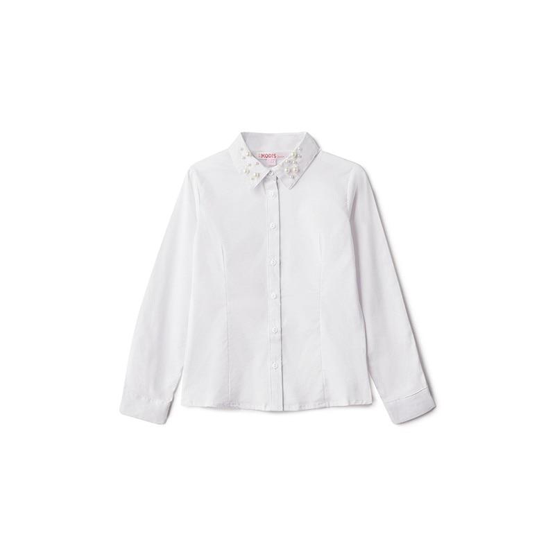 Blouses & Shirts MODIS M182K00012 for girls kids clothes children clothes TmallFS kids clothes sets for girls turn down collar blouses