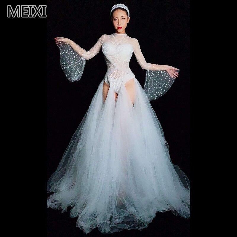 Unique White Fairy White Pearl Yarn With Floor-length Skirt Nightclub Bar Concert DJ Singer/dancer Costumes