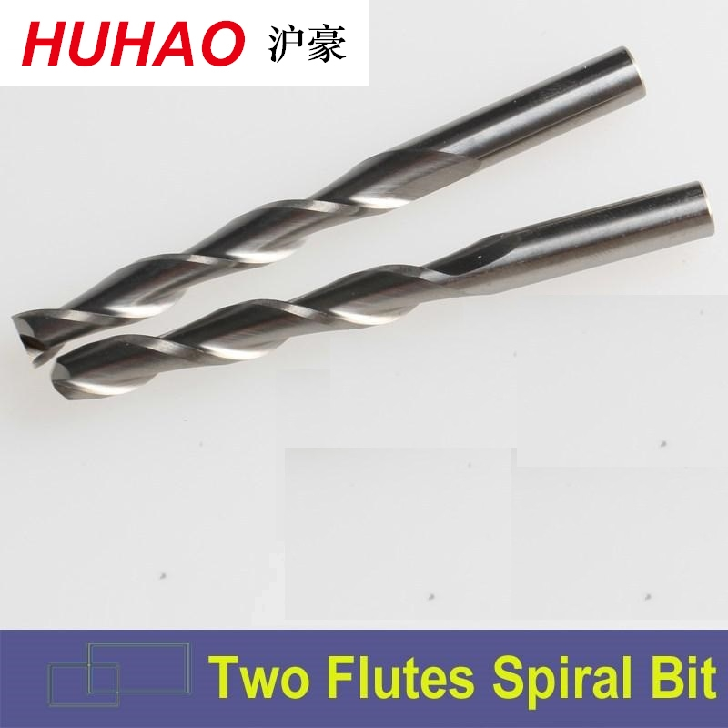 HUHAO 3.175 SHK Carbide CNC Router Bits Two Flutes Spiral End Mills Double Flutes Milling Cutter Spiral PVC Cutter