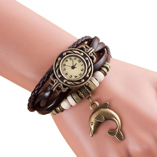 Xiniu Watch Women Quartz watch with Weave Around Leather Dolphin Bracelet Lady w