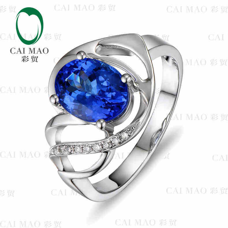 CaiMao 18KT/750 White Gold 2.0 ct Natural IF Blue Tanzanite AAA 0.05 ct Round Cut Diamond Engagement Gemstone Ring Jewelry factory price giant big inflatable water slide with pool game on sale