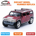 1:24 Humvee Diecast Miniature Hummer Model, 18CM Length Cars, Boys Gift Toys  With Pull Back Function/Music/Light/Openable Door