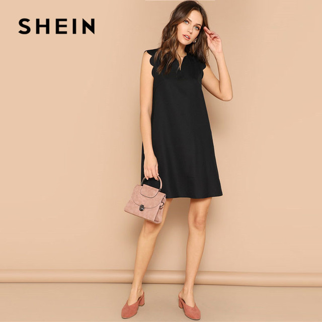 SHEIN Lady Solid V-Neck Scallop Trim Trapeze Mini Dress Women Clothes 2019 Casual Sleeveless Loose Tank Summer Dress 2