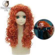 Anime Movie Brave Long Curly Princess Merida Cosplay Wig for Costume Party Synthetic Orange Hair With net