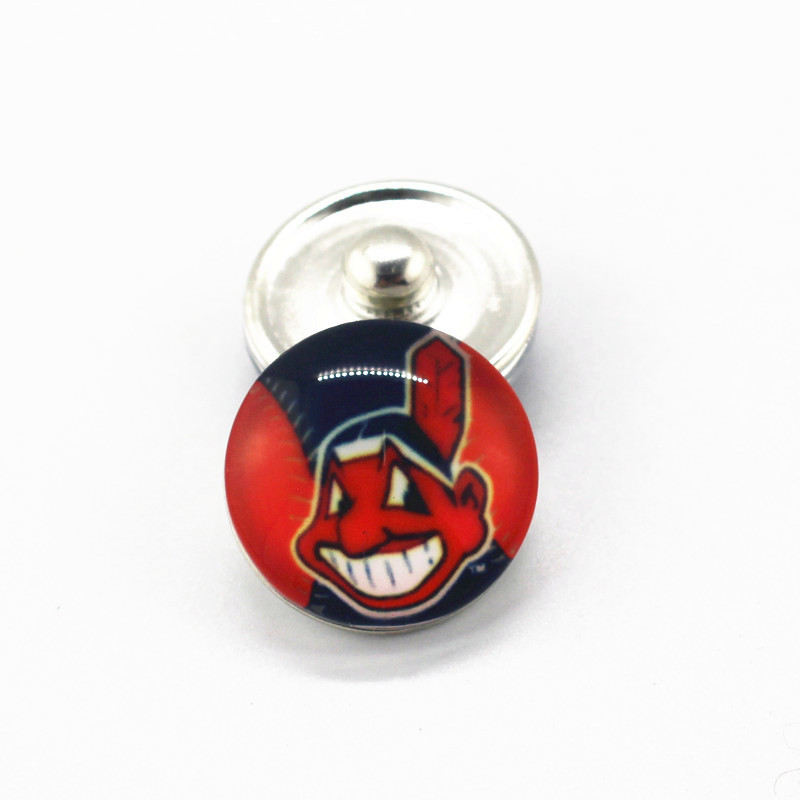 20pcs/lot MLB Baseball Cleveland Indians Sox 18mm Glass Snap Buttons Team Sports Charms Fit Snap Jewelry Bracelets&Bangles