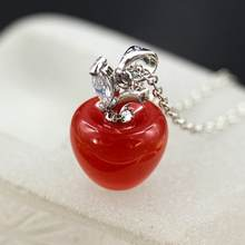 Hot Women Opal Red Apple Shape Charm Pendant for Necklace Earring Decor New(China)