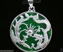 Ddh003615 Plateado Verde Jade Dragon Phoenix Colgante y Collar 28% de Descuento (A0516)