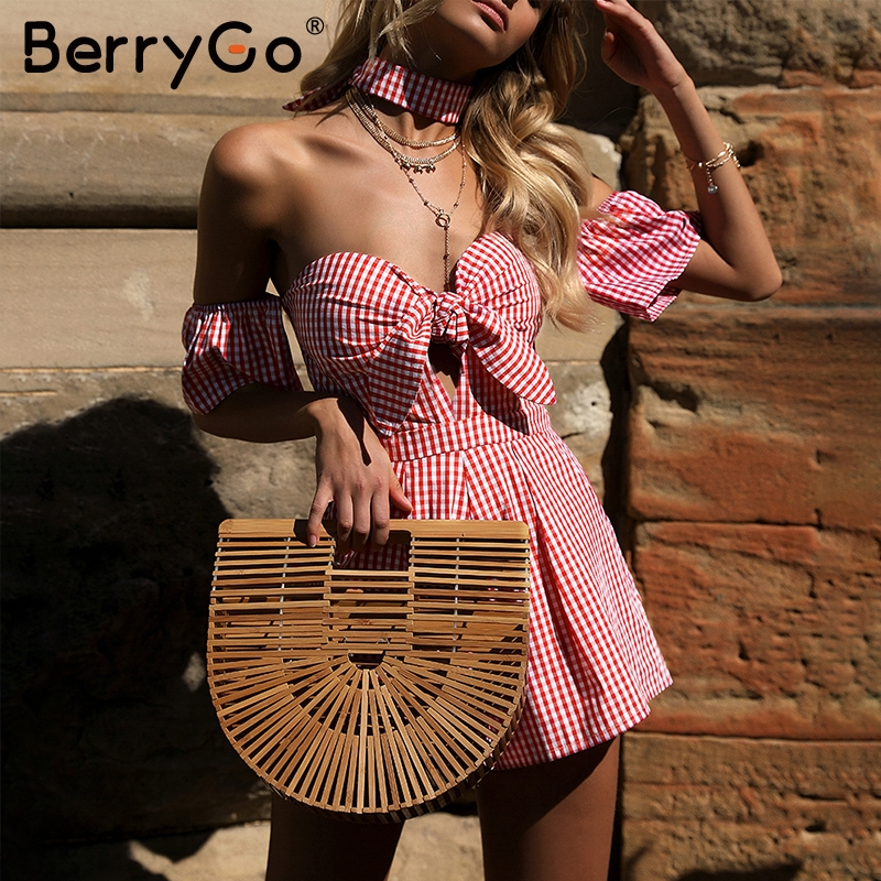 BerryGo Off shoulder plaid jumpsuit romper women Sexy backless bow high waist playsuit female Summer beach 2018 short overalls