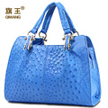 QIWANG Original Real Natural Leather Ostrich Bag Expensive Bag Famous Brand Quality Leather Handbags Luxury Ladies Hand Bags