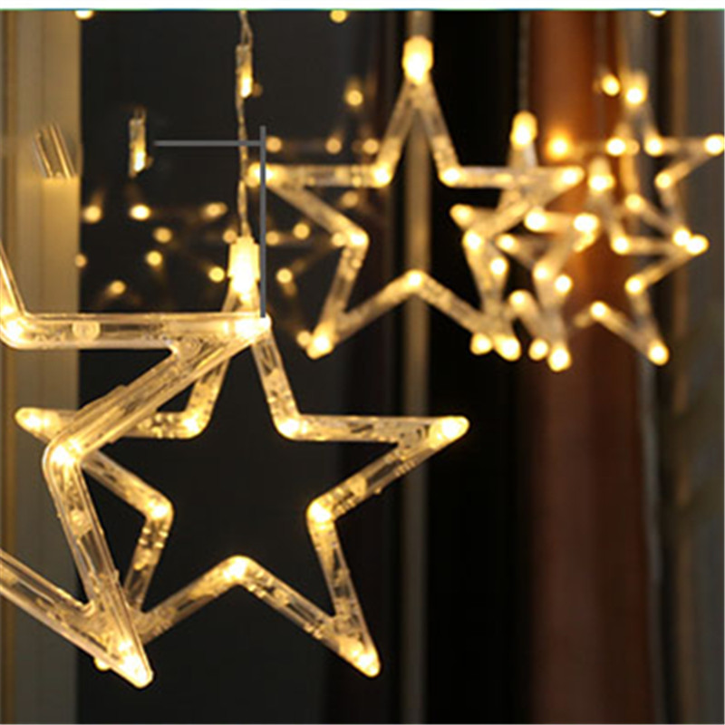 Fairy LED Star Curtain String Light Starry Christmas Wedding Party Garland Home Indoor Outdoor Garden Droop Flashing Lamp Decor star decor rod pocket sheer curtain 1pc
