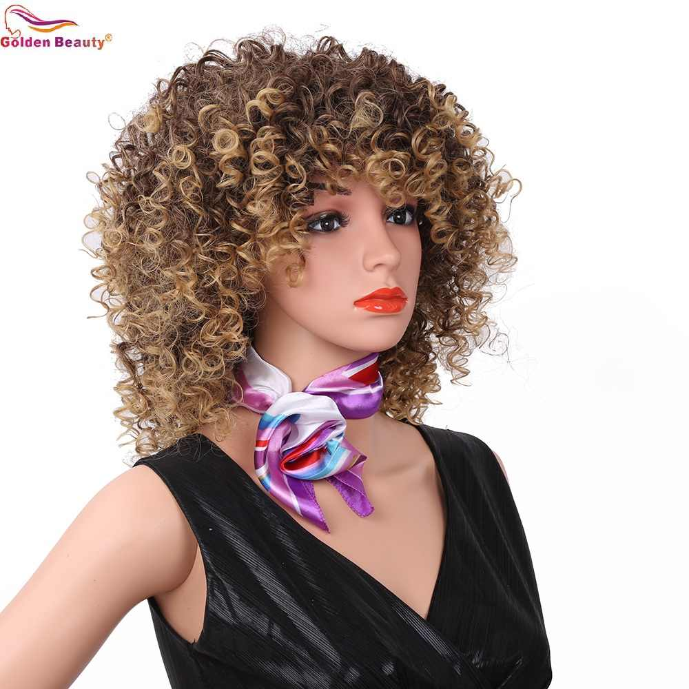 Парики из искусственных волос без косточек с короткой окантовкой, афро кудрявые синтетические парики с челкой натуральные светлые/красные африканские парики для женщин Золотая красота