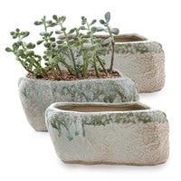 T4U 5.25 Distinctive Stone Shape Sucuulent Cactus Plant Pots Flower Pots Planters Containers Window Boxes Small Hole Set of 3