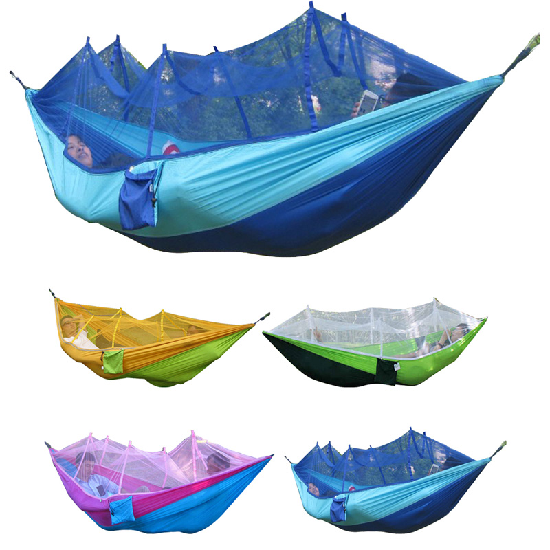 1-2 Person Portable High Strength Parachute Fabric Camping Hammock Hanging Bed With Mosquito Net Sleeping Hammock 260x130cm