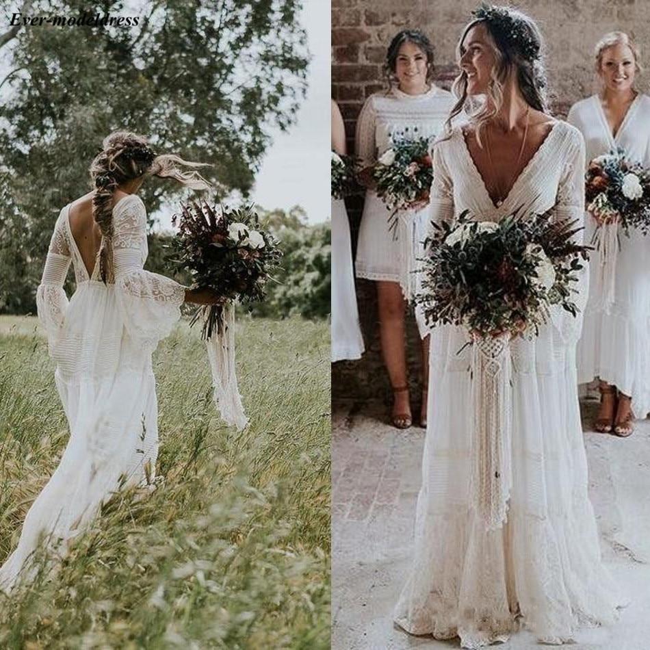 Sheath Wedding Dresses 2019: Bohemian Lace Sheath Wedding Dresses Long Sleeves 2019 V