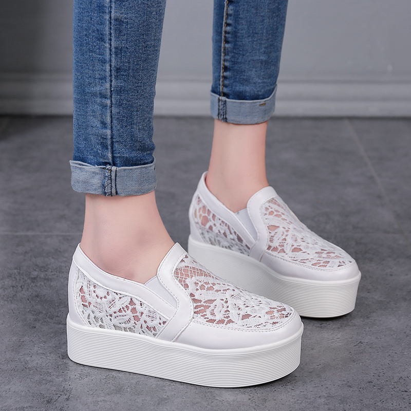 Women Shoes Woman Breathable Mesh Flats Lace Loafers Thick Heels Platform Single Casual Comfort Ladies Lazy Shoes Flats Creepers free shipping candy color women garden shoes breathable women beach shoes hsa21