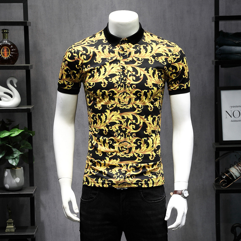 2019 New Arrivals Designer   Polos   Fashion Printing Men   Polo   Shirts Short Sleeve Breathable Yellow Shirt Biggest szie 5XL 9251