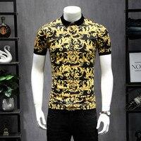 2019 New Arrivals Designer Polos Fashion Printing Men Polo Shirts Short Sleeve Breathable Yellow Shirt Biggest szie 5XL 9251
