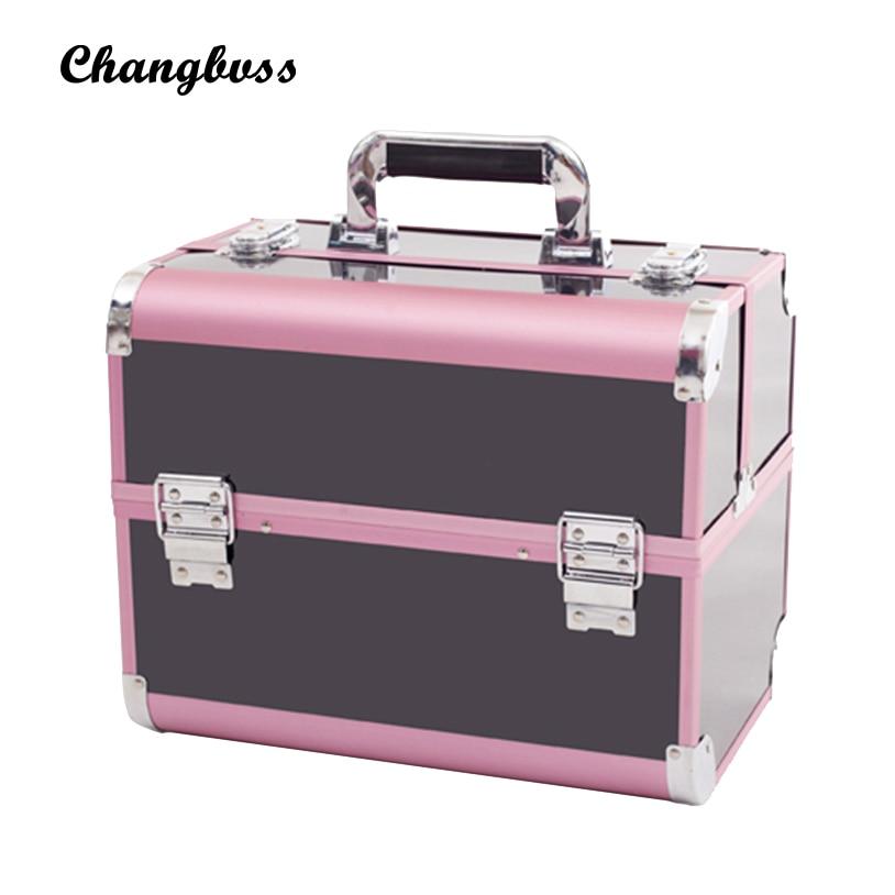 Фотография 2017 Fashion Female Women Holder Make Up Box Pink&Black Professional Cosmetic Bag PVC Makeup Organizer Suitcase Makeup Pouch